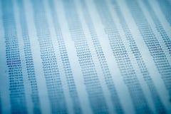 Concepto de los datos financieros con números Imagen de archivo libre de regalías