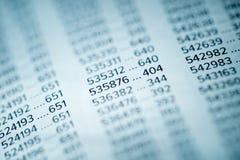 Concepto de los datos financieros con números Foto de archivo libre de regalías