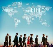 Concepto de los estándares de las moralejas de los principios de los ideales de los éticas imagenes de archivo