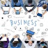 Concepto de los gráficos del planeamiento de la estrategia de los iconos del negocio Imagen de archivo