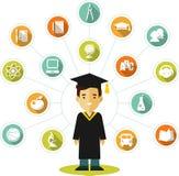 Concepto de los graduados con la gente y los iconos de la educación libre illustration