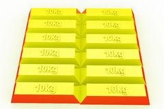 concepto de los ladrillos del oro 3d Imágenes de archivo libres de regalías