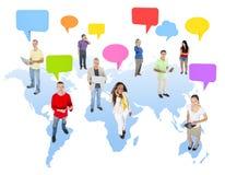 Concepto de los medios de la conexión de la comunidad de la comunicación global imagen de archivo libre de regalías