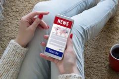 Concepto de los medios del t?tulo del periodismo de la actualizaci?n de las noticias fotografía de archivo libre de regalías