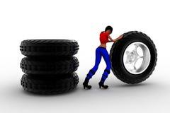 concepto de los neumáticos de las mujeres 3d Imagen de archivo