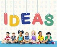 Concepto de los pensamientos de la estrategia de Vision del diseño de plan de las ideas Foto de archivo libre de regalías