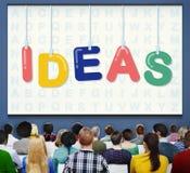 Concepto de los pensamientos de la estrategia de Vision del diseño de plan de las ideas Imagenes de archivo