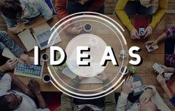 Concepto de los pensamientos de la estrategia de Vision del diseño de plan de las ideas Imagen de archivo