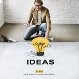 Concepto de los pensamientos de la sugerencia de la estrategia de diseño de la acción de las ideas Imágenes de archivo libres de regalías