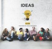 Concepto de los pensamientos de la sugerencia de la estrategia de diseño de la acción de las ideas Imagen de archivo