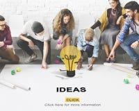 Concepto de los pensamientos de la sugerencia de la estrategia de diseño de la acción de las ideas Fotografía de archivo