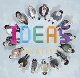 Concepto de los pensamientos de la estrategia de Vision del diseño de plan de las ideas fotografía de archivo