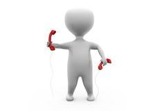 concepto de los receptores del teléfono del hombre 3d Imagen de archivo
