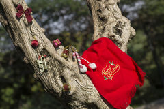 Concepto de los regalos del árbol de la Feliz Navidad y de la Feliz Año Nuevo Imágenes de archivo libres de regalías