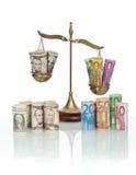 Concepto de los tipos de cambio de dinero en circulación Imagen de archivo