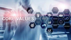 Concepto de los valores de la base en la pantalla virtual Soluciones del negocio y de las finanzas imagen de archivo