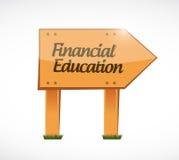 concepto de madera de la muestra de la educación financiera Foto de archivo