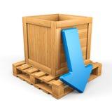 Concepto de madera 6 de la transferencia directa de la caja Imagen de archivo libre de regalías