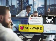 Concepto de Malware del virus del pirata informático de ordenador del Spyware Imagen de archivo libre de regalías