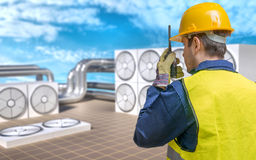 Concepto de mantenimiento de la HVAC (calefacción, ventilación, aire acondicionado) foto de archivo