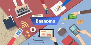 Concepto de marcado en caliente, idea creativa, márketing digital en el ejemplo de escritorio del vector Foto de archivo libre de regalías