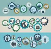 Concepto de mecanismos con los iconos del negocio, mano de obra Foto de archivo