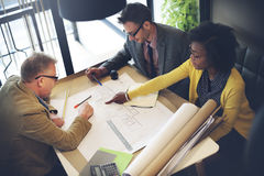 Concepto de Meeting Planning Blueprint del arquitecto del grupo Foto de archivo libre de regalías
