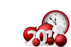 Concepto 2018 de Navidad y del Año Nuevo Bolas rojas de la Navidad con los tenedores y el reloj de plata del vintage ilustración del vector