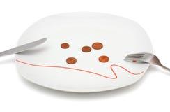 Concepto de ningún dinero para la comida con las monedas y la placa Foto de archivo libre de regalías