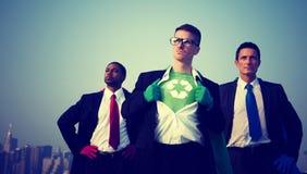Concepto de Nueva York del ambiente de los hombres de negocios del super héroe Foto de archivo libre de regalías