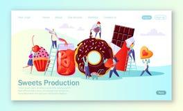 Concepto de página de aterrizaje con la producción alimentaria de los dulces stock de ilustración