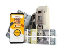 Concepto de pagar préstamo en los dólares casa vía el smartphone 3d para no rendir en el fondo blanco ninguna sombra libre illustration