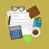 Concepto de pago y de factura de impuestos Imagen de archivo libre de regalías
