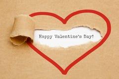 Concepto de papel rasgado feliz del día de tarjetas del día de San Valentín Foto de archivo