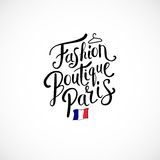 Concepto de París del boutique de la moda en el fondo blanco Fotografía de archivo libre de regalías