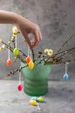 Concepto de Pascua Huevos coloreados tenencia de la muchacha Willow Branches Fotografía de archivo