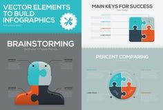 Concepto de pedazo infographic del sistema y del rompecabezas del vector del rompecabezas del negocio Imágenes de archivo libres de regalías