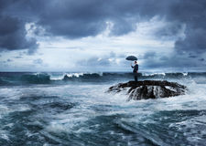 Concepto de pensamiento de la playa de la crisis de la desesperación del negocio Imagenes de archivo