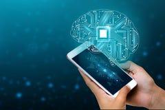 Concepto de pensamiento fondo con el tema de los símbolos de la tecnología de la serie de la mente de la CPU del cerebro de infor foto de archivo
