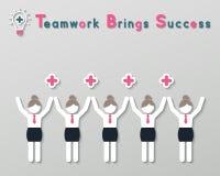 Concepto de pensamiento positivo del negocio del trabajo en equipo Foto de archivo