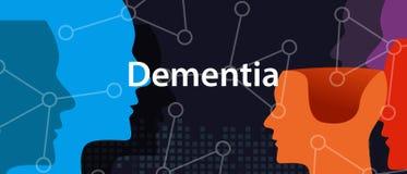 Concepto de pensamiento principal del problema de salud de la neurología del cerebro de Alzheimer de la demencia ilustración del vector