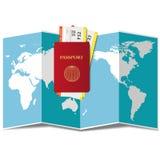 Concepto de planificación del viaje en todo el mundo Pasaporte, billetes de avión, y mapa del mundo libre illustration