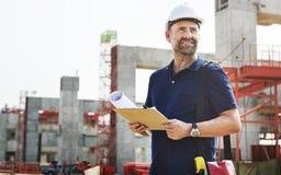 Concepto de Planning Constructor Developer del trabajador de construcción imágenes de archivo libres de regalías