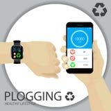 Concepto de Plogging Forma de vida sana Una mano humana con pulsera stock de ilustración