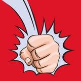 Concepto de poder autoritario con una mano que perfora la tabla ilustración del vector