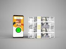 Concepto de préstamo a través del teléfono en el banco en dólares en las llaves ilustración del vector