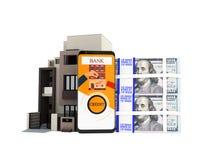 Concepto de préstamo a través del teléfono en el banco en dólares en un apartamento libre illustration