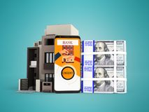 Concepto de préstamo a través del teléfono en el banco en dólares en un apartamento ilustración del vector