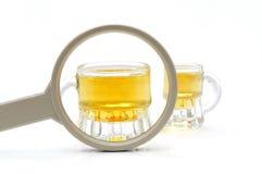 Concepto de problema de consumición con la lupa, whisky Fotos de archivo libres de regalías