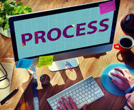 Concepto de proceso del procedimiento de la operación de la estrategia del método foto de archivo